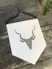 Stag Pennant banner hanging print