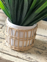 Stoneware ceramic with wicker outer