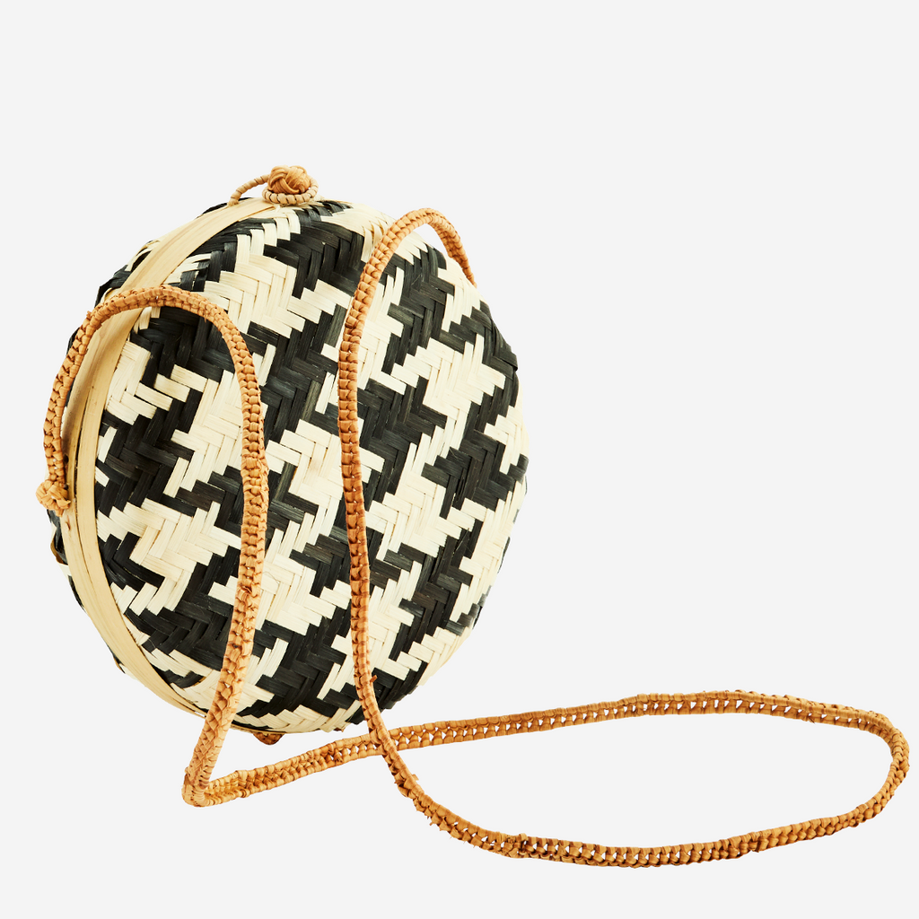SALE; Woven clasp bamboo bag