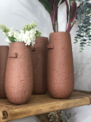 Chalky terracotta textured vase - 2 sizes