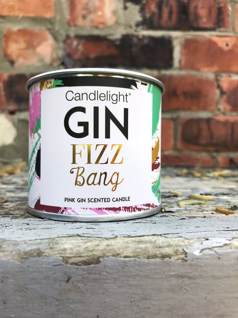 Pink gin candle in tin