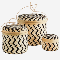 Set of 3 bamboo baskets