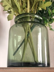 Chunky green glass Jar Vase