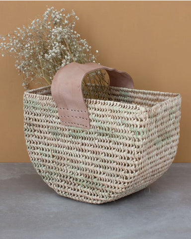 Woven half moon basket bag