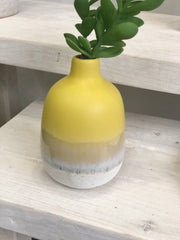 artisan vase yellow