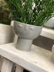 Percy Face planter - grey