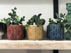 Wavy ceramic pot - set of 3