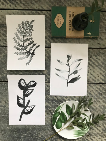 Trio of prints - charcoal leaves