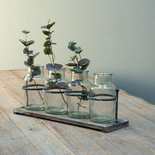 Wooden Rack With 4 glass Jars