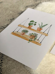 Hanging shelf with plants print