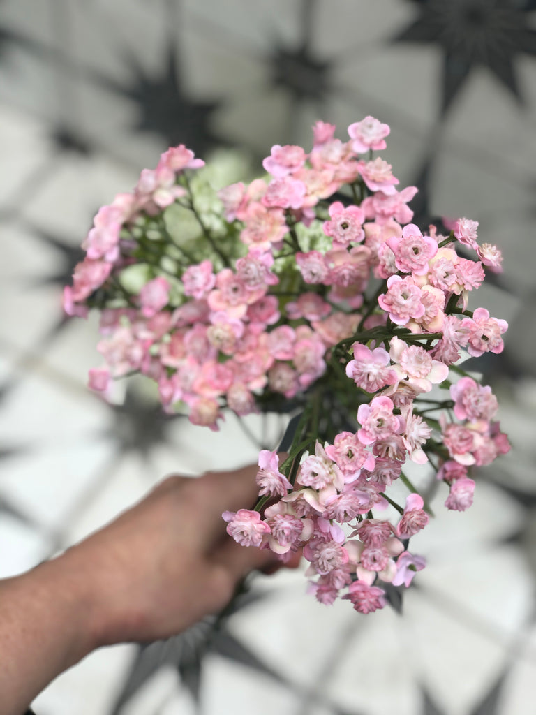 Pink gypsophila faux spray