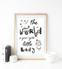 World is your oyster - girl print - whimsical collection