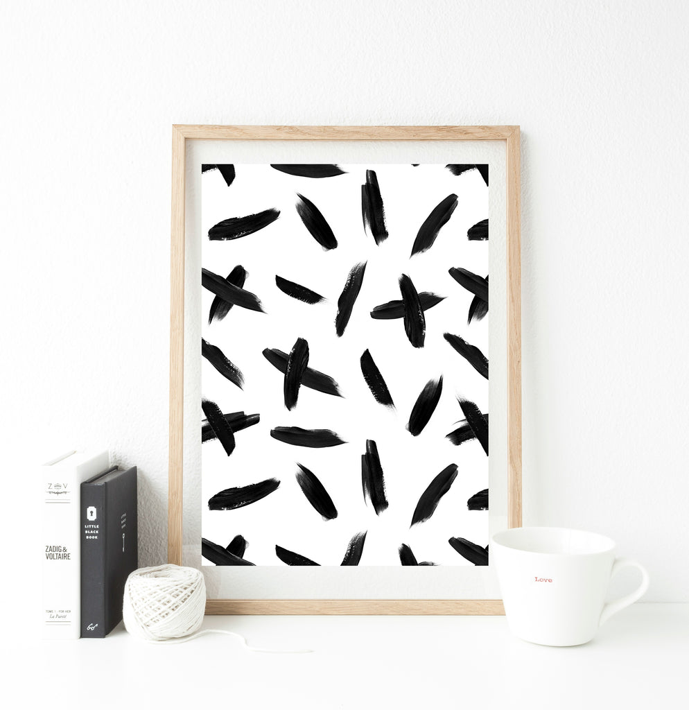 All over monochrome crosses print