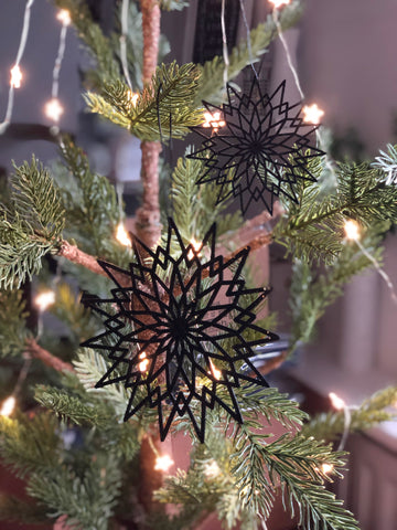 2 black sparkly snowflake decorations