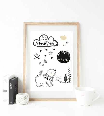 Let's go on an adventure Print  - whimsical collection