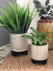 Striped Geometric ceramic planter - small