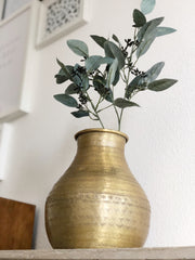 Carved aluminium gold vase
