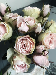 5 head rose stem - dusky pink faux