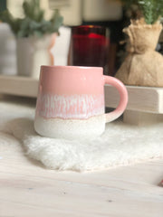Glazed pink ceramic mug