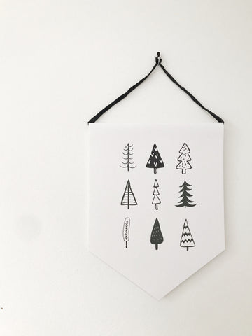 Trees Pennant banner hanging print