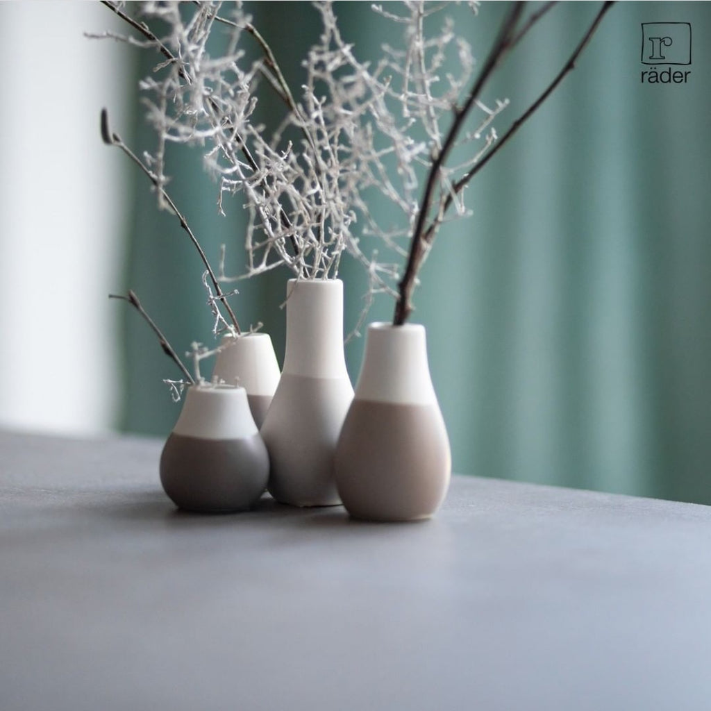 Set of 4 mini pastel vases - grey