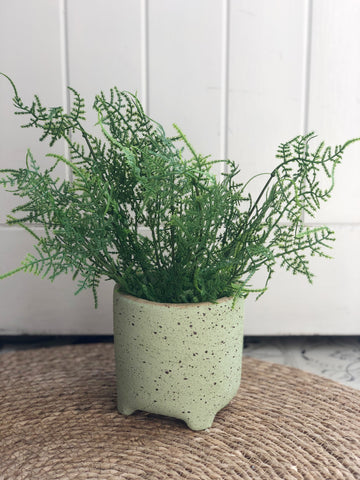 Textured planter with faux complete