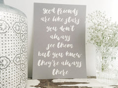 Friendship grey and white print