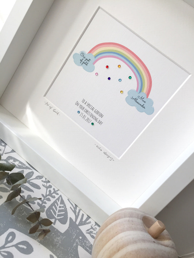 Christening/ Baptism Pot of Gold Rainbow picture