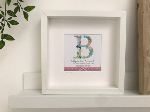Personalised initial child's mounted and framed picture