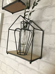 Iron and wood shelf - freestanding or wall hanging