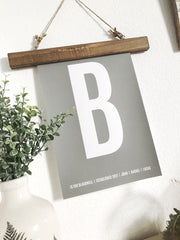Magnetic print wooden hangers - rustic wood or white