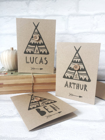personalised teepee card