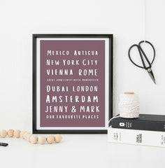 Personalised favourite places prints - different colours available