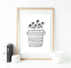 A3 option - Monochrome doodle plants - choice of designs