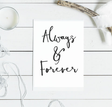 Always and forever - typography card