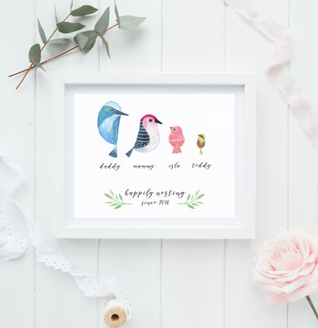Bird Family Personalised Print