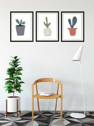 Trio of modern Cacti prints