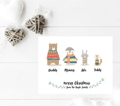 Christmas Animals Personalised Print