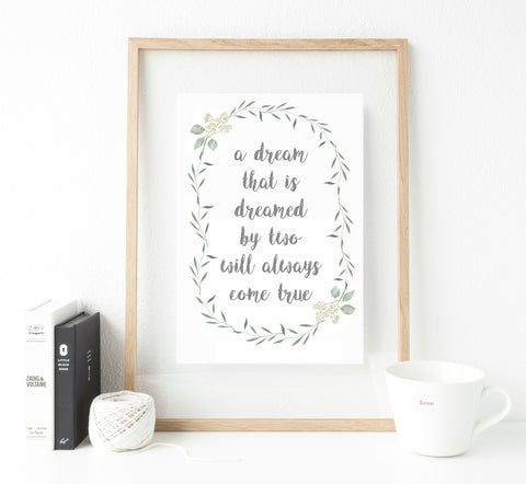 Botanical quote print with pearl embellishment
