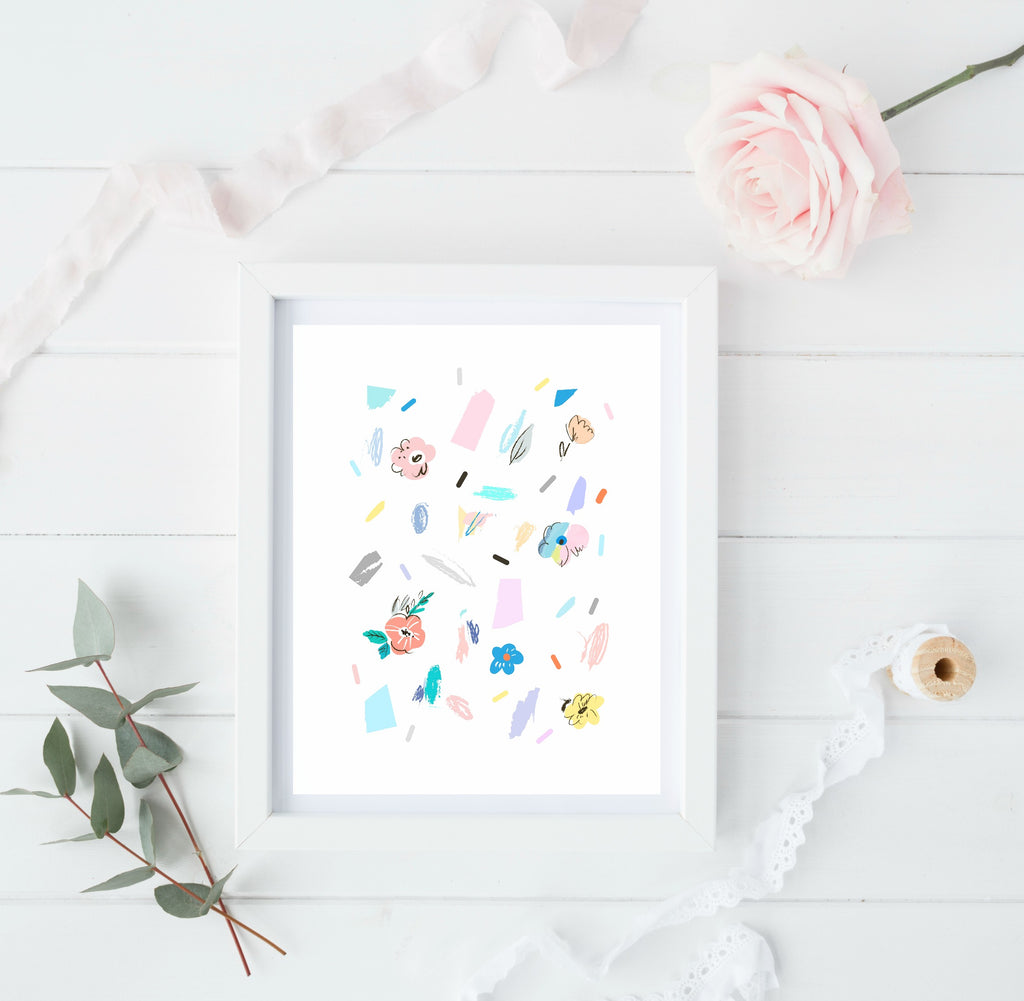 Floral abstract - scattered pastels