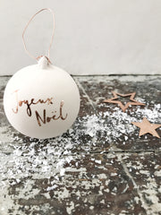 Personalised Typography ceramic bauble