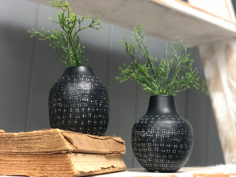 black carved aluminium vase