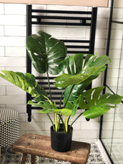 Faux Monstera leaf plant in pot