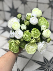 Beautiful Ranunculus faux bouquet - creams & greens