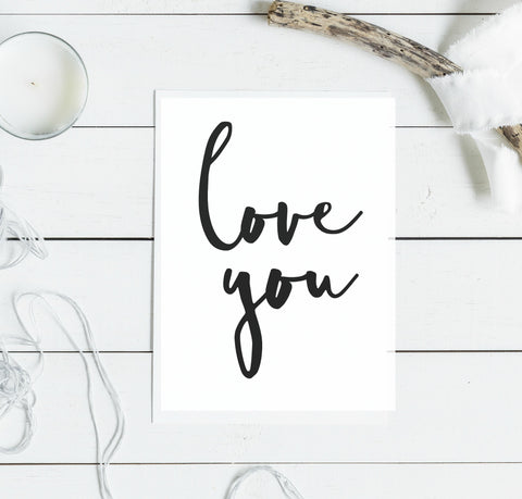 love you typography card