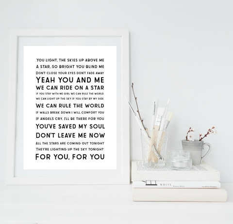 Song lyrics / poem print