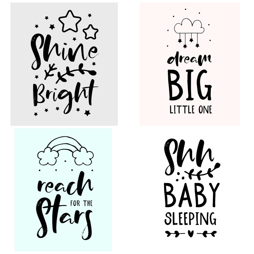 Nursery Prints - 4 designs - 4 background colours