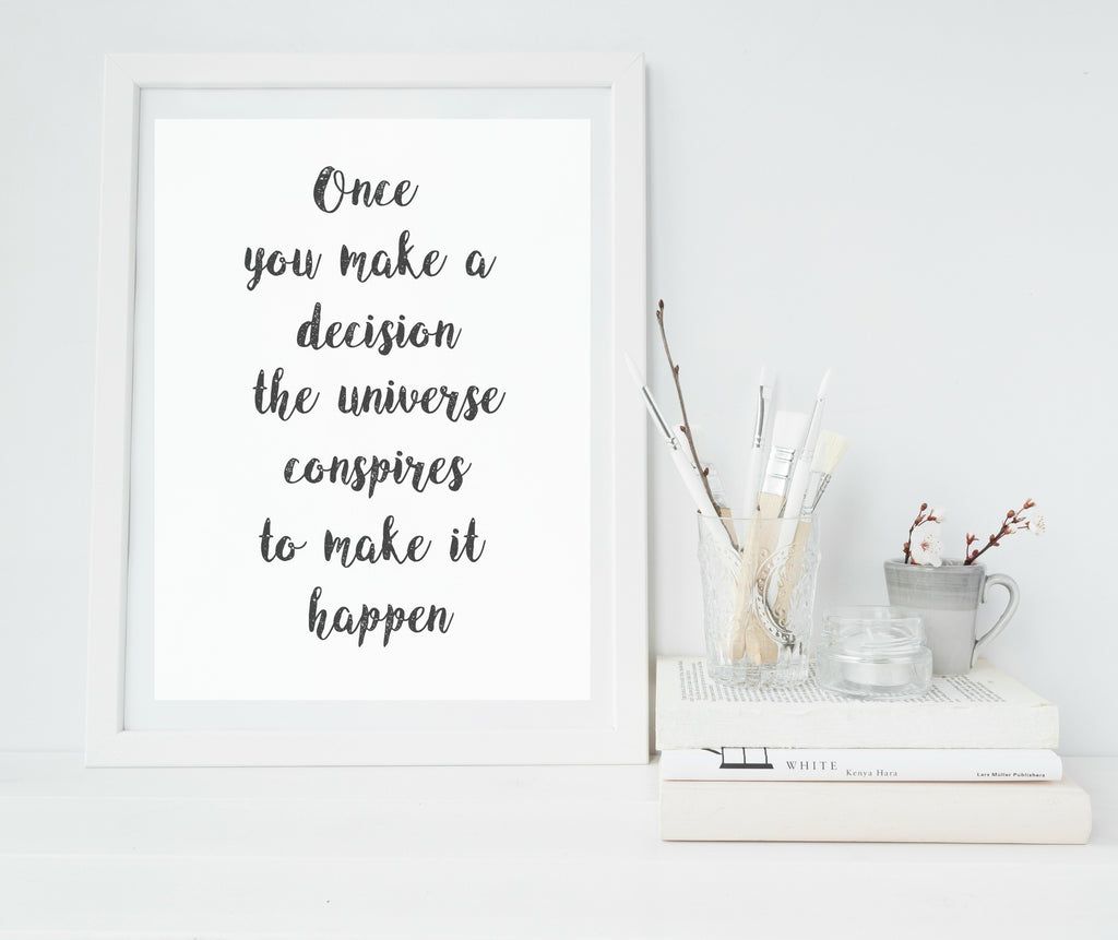 Black and white quote Print