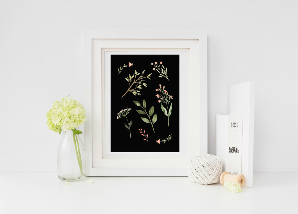 Wildflower on black print