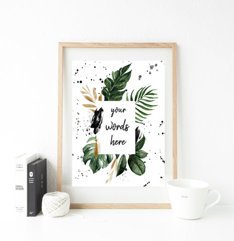 Personalised words botanical print - Any words!